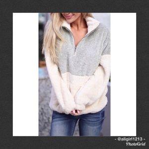 SALE - Taupe & Cream Pullover